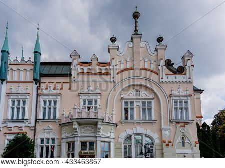 Close Up View Of The Architectural Renassaince Style Of The Polish Bank Building In The Old Town Of