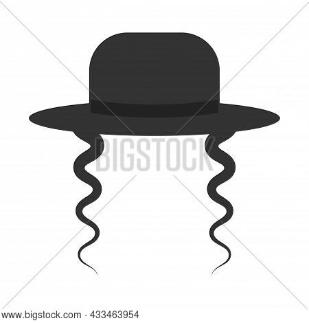 Black Orthodox Jewish Hat With Side Locks Icon On White Background. Jewish Men In Traditional Jewish