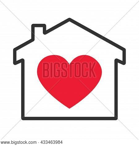 House With Heart Shape Within, Love Home Symbol, Vector Illustration Isolated On White Background. S
