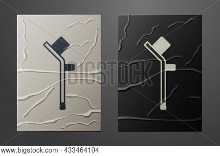 White Crutch Or Crutches Icon Isolated On Crumpled Paper Background. Equipment For Rehabilitation Of