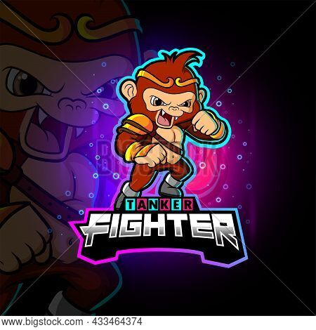 The Angry Fighter Monkey Esport Mascot Design Of Illustration