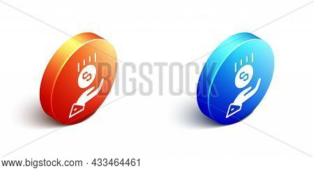 Isometric Coins On Hand - Minimal Wage Icon Isolated On White Background. Orange And Blue Circle But