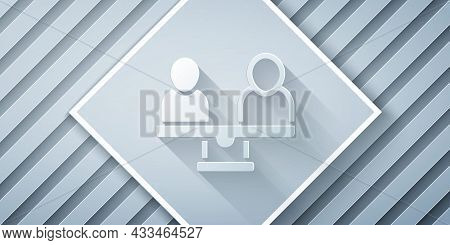 Paper Cut Gender Equality Icon Isolated On Grey Background. Equal Pay And Opportunity Business Conce
