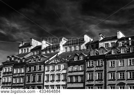 Black And White View Of The Houses On The Old Market Square In The Historic City Center Of Warsaw