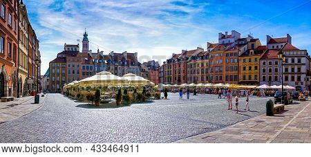 Panorama View Of The Old Market Square In The Historic City Center Of Downtown Warsaw