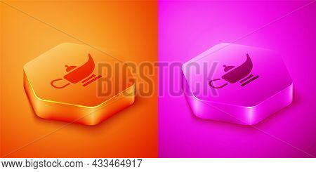 Isometric Magic Lamp Or Aladdin Lamp Icon Isolated On Orange And Pink Background. Spiritual Lamp For