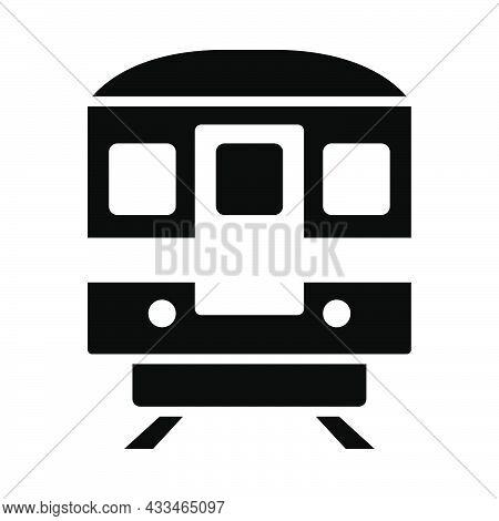 Subway Train Icon. Black Stencil Design. Vector Illustration.