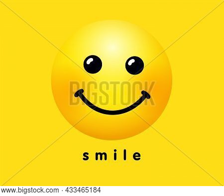 Smile Icon, Holiday Banner Design. Smiling Emoticon Vector Logo On Yellow Background. World Smile Da