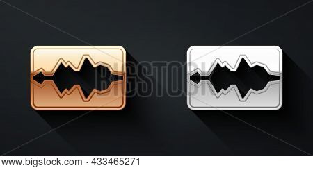 Gold And Silver Music Wave Equalizer Icon Isolated On Black Background. Sound Wave. Audio Digital Eq