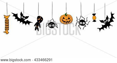 Vector Halloween Background With Hanging Flat Traditional Elements - Pumpkin, Jack Lantern, Zombie,s