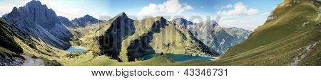 Mountain lakes in the Allgaeu Alps in Tyrol