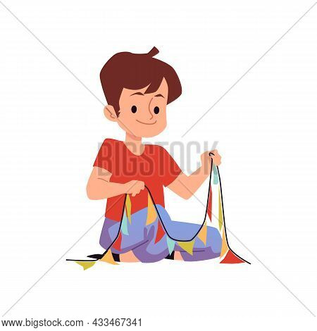 Little Child Character Making Paper Cutouts, Flat Vector Illustration Isolated.