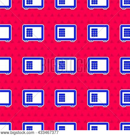 Blue Safe Icon Isolated Seamless Pattern On Red Background. The Door Safe A Bank Vault With A Combin