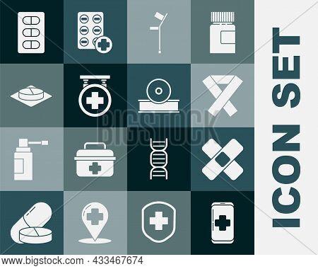 Set Emergency Mobile Phone Call To Hospital, Awareness Ribbon, Crutch Or Crutches, Hospital Signboar