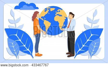 Conservation And Care For Nature. Earth Protection Concept. People Are Holding The Planet Earth In T