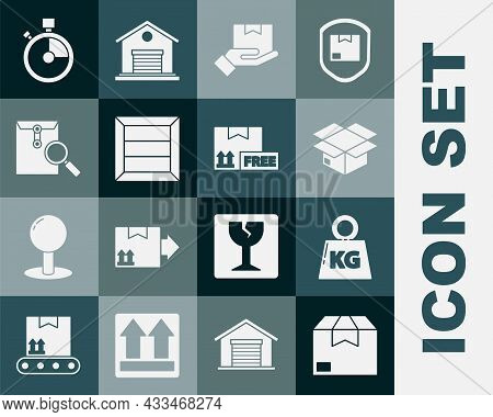 Set Carton Cardboard Box, Weight, Delivery Hand With Boxes, Wooden, Envelope Magnifying Glass, Fast