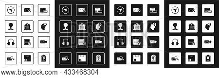 Set Cardboard Box With Free Symbol, Warehouse, Push Pin, Infographic Of City Map Navigation, Deliver