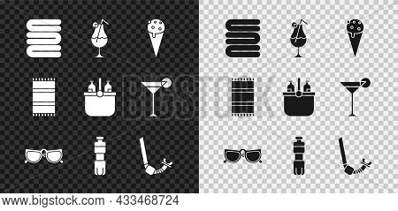 Set Towel Stack, Cocktail And Alcohol Drink, Ice Cream Waffle Cone, Glasses, Bottle Of Water, Snorke