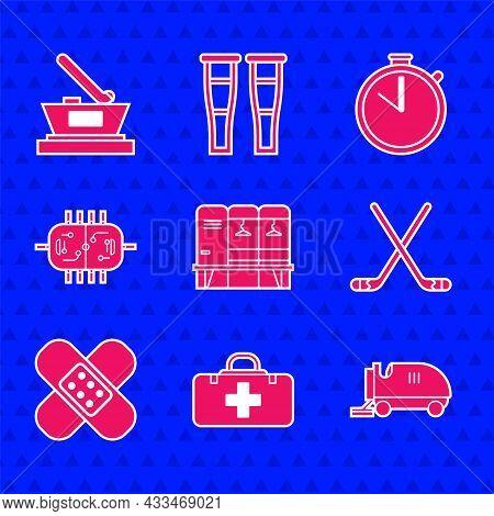 Set Locker Or Changing Room, First Aid Kit, Ice Resurfacer, Hockey Sticks, Crossed Bandage Plaster,