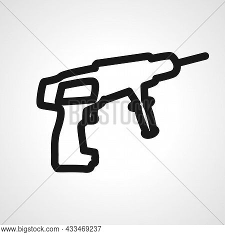 Drill Vector Line Icon. Drill Tool Linear Outline Icon.