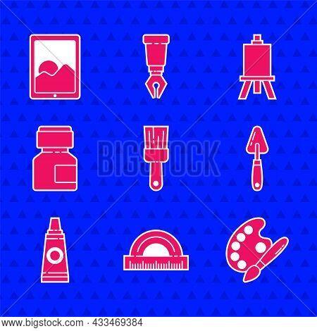 Set Paint Brush, Protractor, With Palette, Palette Knife, Tube Paint, Paint, Gouache, Jar, Dye, Ease