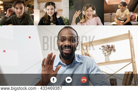Collage. Group Of 3 Children, Students Studying English By Group Video Call, Use Video Conference Wi