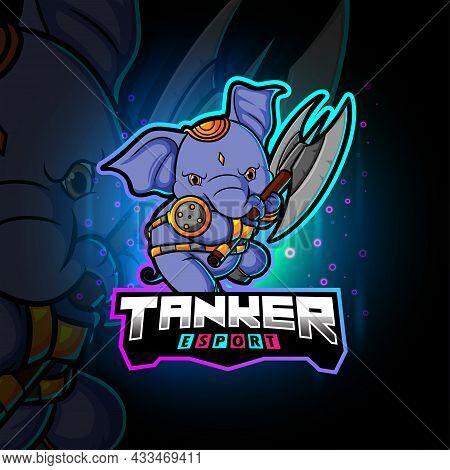 The Tanker Elephant Esport Mascot Design Of Illustration