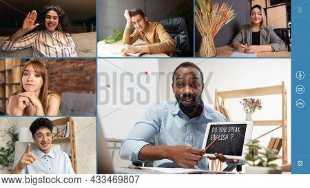 Group Of 5 Multiethnic Students Studying English By Group Video Call, Use Video Conference With Each