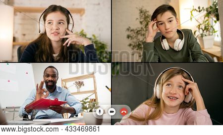Collage. Group Of 3 Children, Students Studying By Group Video Call, Use Video Conference With Each