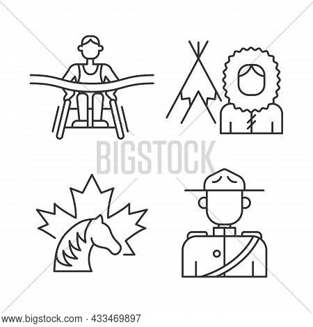 People Of Canada Linear Icons Set. Mounted Police Uniform. Inuit Nationality. Canadian Horse. Custom