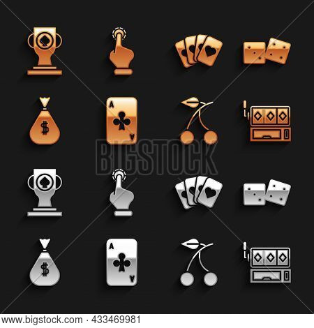 Set Playing Card With Clubs, Game Dice, Slot Machine, Casino Slot Cherry, Money Bag, Deck Of Playing