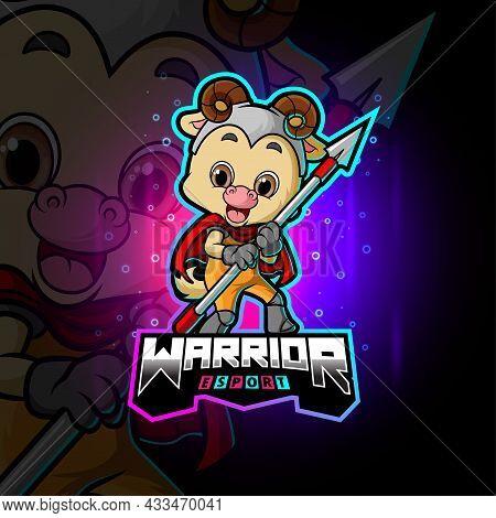 The Cute Warrior Sheep Esport Logo Design Of Illustration