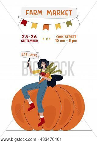 Farm Market Banner. Farmer Woman On Huge Pumpkin In Modern Style. Harvest Festival Or Eat Local Conc