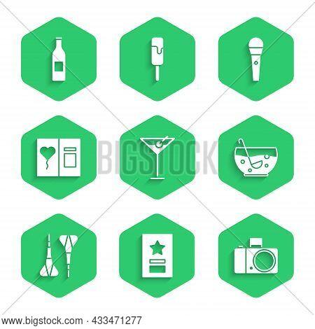 Set Martini Glass, Greeting Card, Photo Camera, Mixed Punch Bowl, Dart Arrow, Karaoke Microphone And