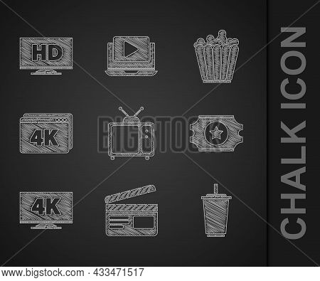 Set Retro Tv, Movie Clapper, Paper Glass With Water, Cinema Ticket, Screen 4k, Online Play Video, Po