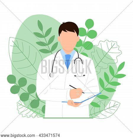 Doctor With A Tablet In His Hands Makes Notes. Homeopathy. Doctor And Green Herbs. Folk And Traditio