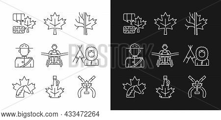 Canadian Representation Linear Icons Set For Dark And Light Mode. Official Country Symbols. National