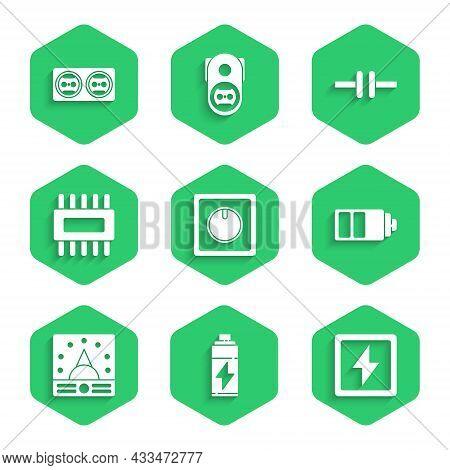 Set Electric Light Switch, Battery, Lightning Bolt, Charge Level Indicator, Ampere Meter, Multimeter