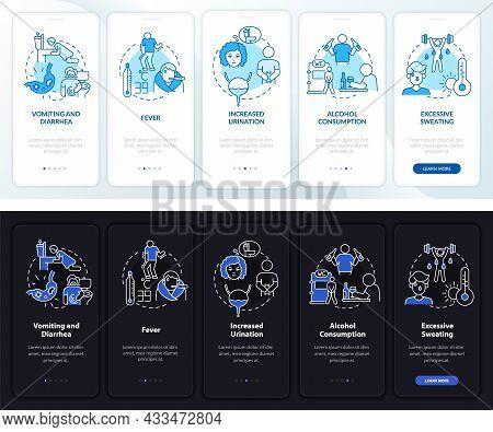 Dehydration Causes Light, Dark Onboarding Mobile App Page Screen. Walkthrough 5 Steps Graphic Instru