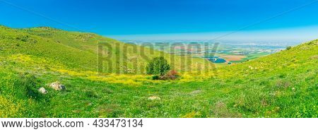Panoramic View Of  Emek HaMaayanot Valley At Spring Time, Israel. Mount Gilboa  Lower Galilee, Beautiful nature of Israel, Holy Land