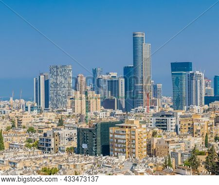 Tel Aviv Skyline And Ramat Gan Cityscape at day. Aerial View, Israel
