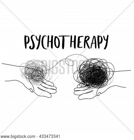 Mental Health Illustration With Line Ball In Human Hands. Depression.psychotherapy. Psychology Illus