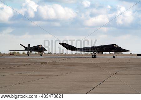 Lockheed F-117 Nighthawk Stealth Bomber Attack Aircraft Taxiing After Landing At Miramar Marine Corp