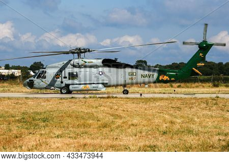 Us Navy Sh-60 Seahawk Helicopter From Uss Truman Taking Off At Hyeres Naval Base, France - June 13,