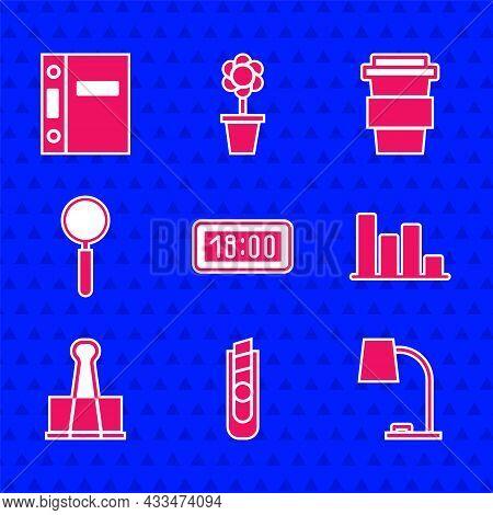 Set Digital Alarm Clock, Stationery Knife, Table Lamp, Pie Chart Infographic, Binder Clip, Magnifyin