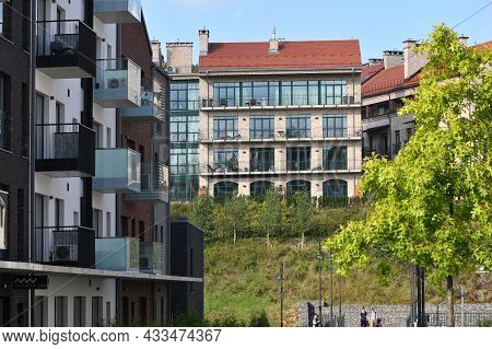 Vilnius - September 09: Modern Residential Apartment And Flat Building Exterior. New Luxury House An