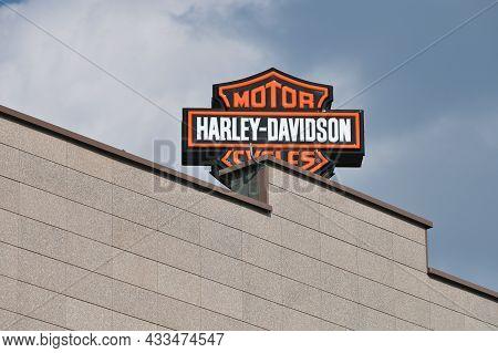Vilnius - September 09: Harley Davidson Logo Is Displayed On A Moto Shop Wall On September 09, 2021