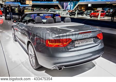 Audi A5 Cabriolet Car Presented At The Brussels Expo Autosalon Motor Show. Belgium - January 12, 201