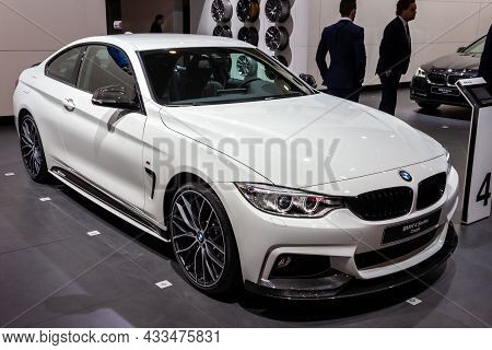 Bmw 4 Series Coupe Showcased At The Brussels Expo Autosalon Motor Show. Belgium - January 12, 2016