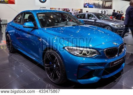 Bmw M2 Coupe Car Showcased At The Brussels Expo Autosalon Motor Show. Belgium - January 12, 2016